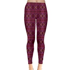 Red Gold Grape Shade Leggings  by MissUniqueDesignerIs