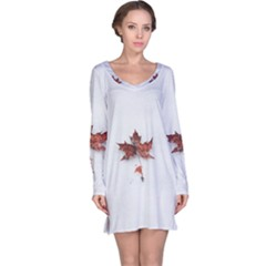 Winter Maple Minimalist Simple Long Sleeve Nightdress