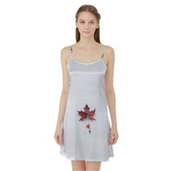 Winter Maple Minimalist Simple Satin Night Slip