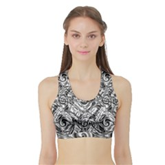 Gray Scale Pattern Tile Design Sports Bra With Border