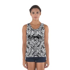 Gray Scale Pattern Tile Design Women s Sport Tank Top
