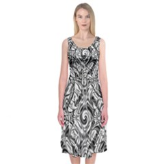 Gray Scale Pattern Tile Design Midi Sleeveless Dress