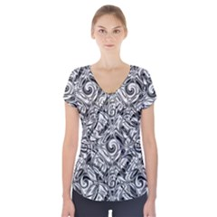 Gray Scale Pattern Tile Design Short Sleeve Front Detail Top by Nexatart