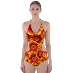 Gerbera Flowers Nature Plant Cut Out One Piece Swimsuit