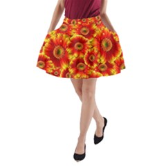 Gerbera Flowers Nature Plant A Line Pocket Skirt by Nexatart