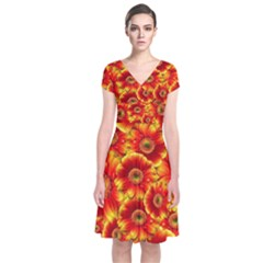 Gerbera Flowers Nature Plant Short Sleeve Front Wrap Dress