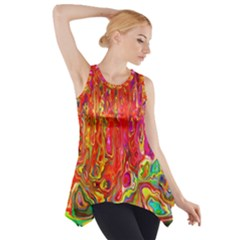 Background Texture Colorful Side Drop Tank Tunic