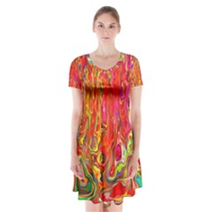 Background Texture Colorful Short Sleeve V Neck Flare Dress