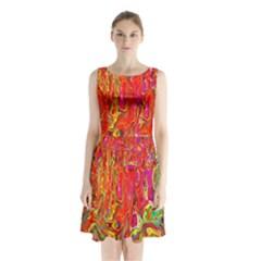 Background Texture Colorful Sleeveless Waist Tie Chiffon Dress