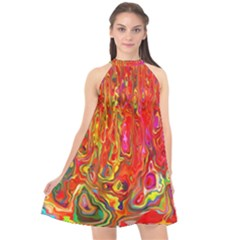 Background Texture Colorful Halter Neckline Chiffon Dress