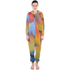 Spring Parrot Parrot Feathers Ara Hooded Jumpsuit (ladies)