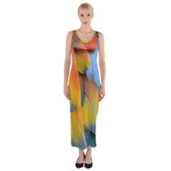 Spring Parrot Parrot Feathers Ara Fitted Maxi Dress