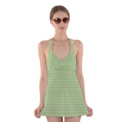 Gingham Check Plaid Fabric Pattern Halter Swimsuit Dress