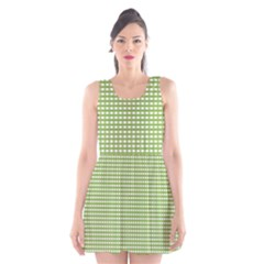 Gingham Check Plaid Fabric Pattern Scoop Neck Skater Dress