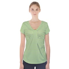 Gingham Check Plaid Fabric Pattern Short Sleeve Front Detail Top by Nexatart