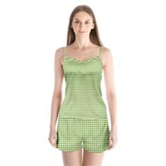 Gingham Check Plaid Fabric Pattern Satin Pajamas Set