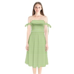 Gingham Check Plaid Fabric Pattern Shoulder Tie Bardot Midi Dress by Nexatart