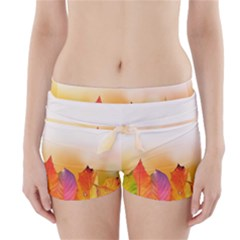 Autumn Leaves Colorful Fall Foliage Boyleg Bikini Wrap Bottoms