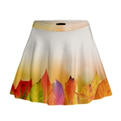 Autumn Leaves Colorful Fall Foliage Mini Flare Skirt