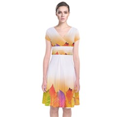 Autumn Leaves Colorful Fall Foliage Short Sleeve Front Wrap Dress