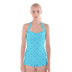 Pattern Background Texture Boyleg Halter Swimsuit
