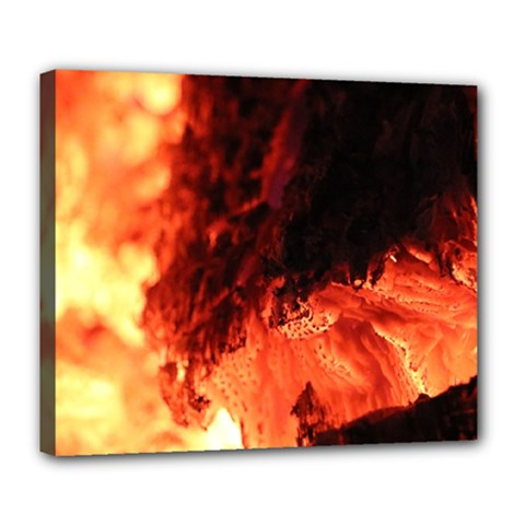 Fire Log Heat Texture Deluxe Canvas 24  X 20
