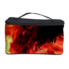 Fire Log Heat Texture Cosmetic Storage Case by Nexatart
