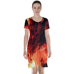 Fire Log Heat Texture Short Sleeve Nightdress