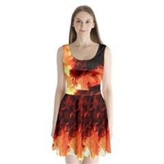 Fire Log Heat Texture Split Back Mini Dress