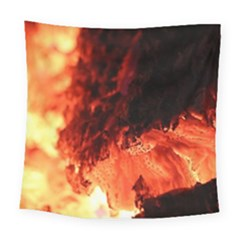 Fire Log Heat Texture Square Tapestry (large) by Nexatart