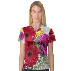 Flowers Gerbera Floral Spring Women s V Neck Sport Mesh Tee