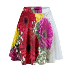 Flowers Gerbera Floral Spring High Waist Skirt by Nexatart
