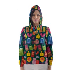 Presents Gifts Background Colorful Hooded Wind Breaker (women)