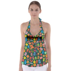 Presents Gifts Background Colorful Babydoll Tankini Top