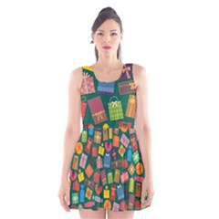 Presents Gifts Background Colorful Scoop Neck Skater Dress