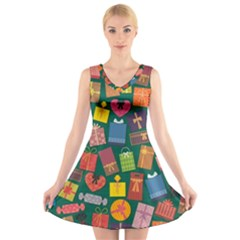 Presents Gifts Background Colorful V Neck Sleeveless Skater Dress