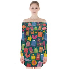 Presents Gifts Background Colorful Long Sleeve Off Shoulder Dress by Nexatart