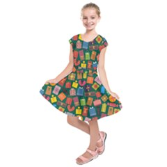 Presents Gifts Background Colorful Kids  Short Sleeve Dress