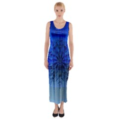 Background Christmas Star Fitted Maxi Dress