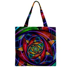 Eye Of The Rainbow Zipper Grocery Tote Bag by WolfepawFractals
