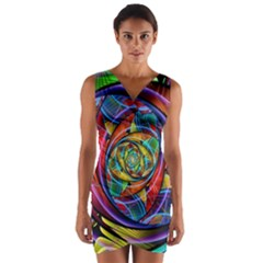 Eye Of The Rainbow Wrap Front Bodycon Dress by WolfepawFractals