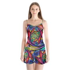 Eye Of The Rainbow Satin Pajamas Set by WolfepawFractals