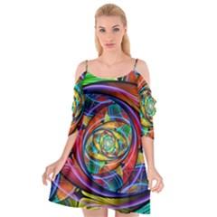 Eye Of The Rainbow Cutout Spaghetti Strap Chiffon Dress by WolfepawFractals