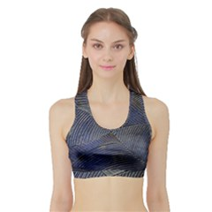 Textures Sea Blue Water Ocean Sports Bra With Border