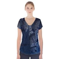 Graphic Design Background Short Sleeve Front Detail Top by Nexatart