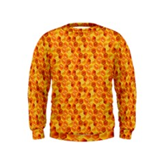 Honeycomb Pattern Honey Background Kids  Sweatshirt