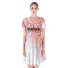 Effect Isolated Graphic Short Sleeve V Neck Flare Dress