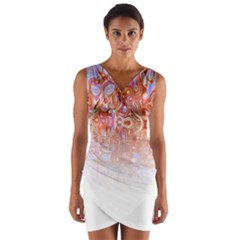 Effect Isolated Graphic Wrap Front Bodycon Dress