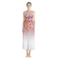 Effect Isolated Graphic Button Up Chiffon Maxi Dress