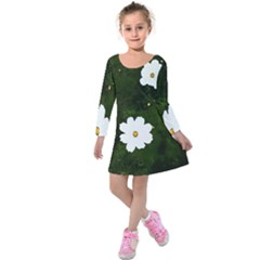 Daisies In Green Kids  Long Sleeve Velvet Dress by DeneWestUK